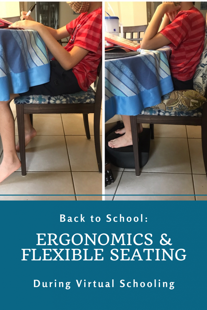 Child shown with ergonomic positioning at table.