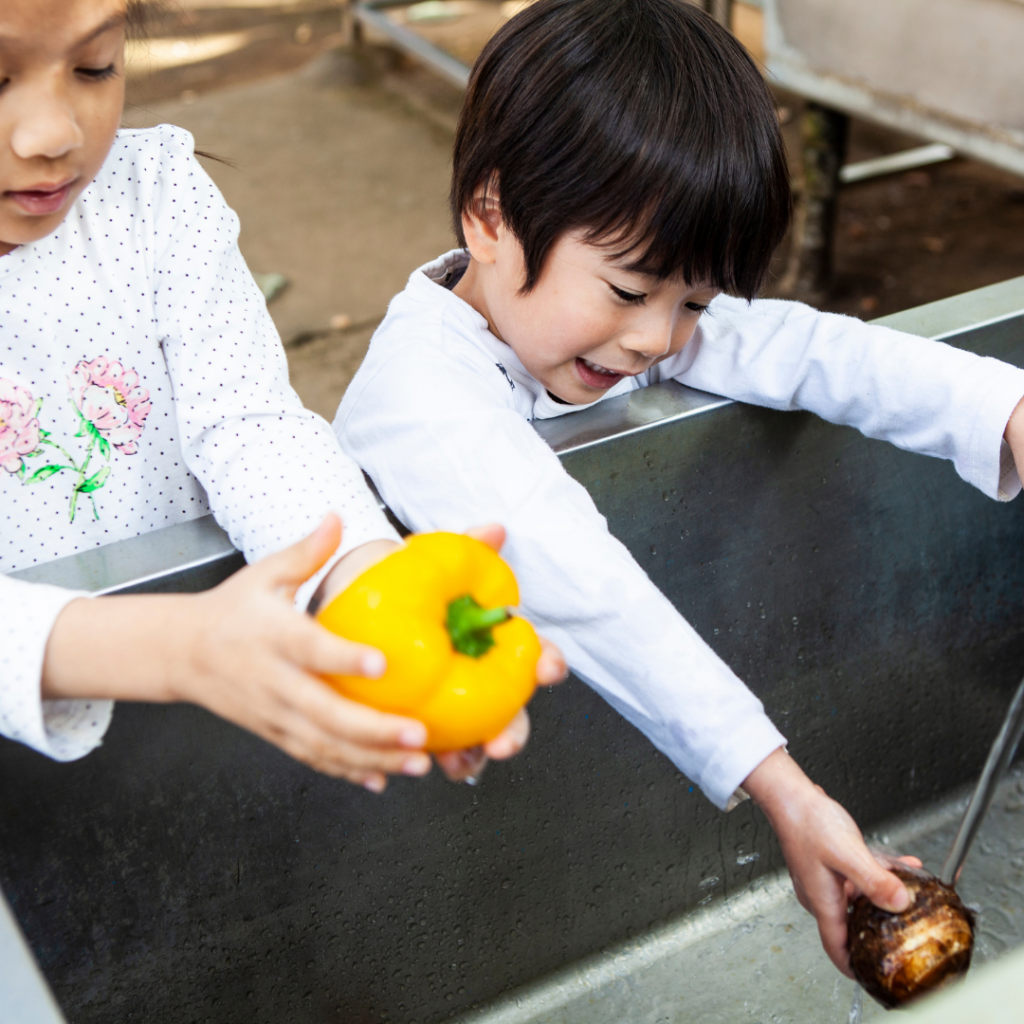 child washing vegetables.
