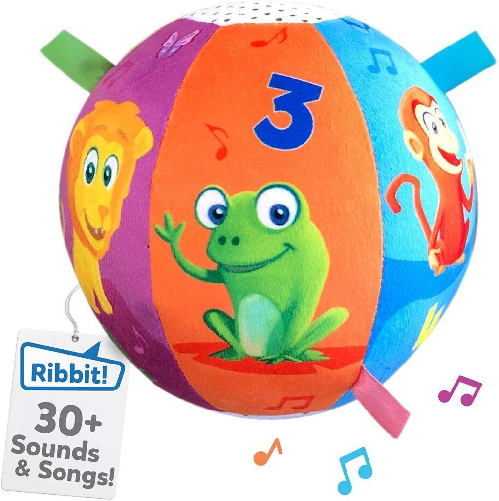 Picture of interactive ball for infants that plays music.