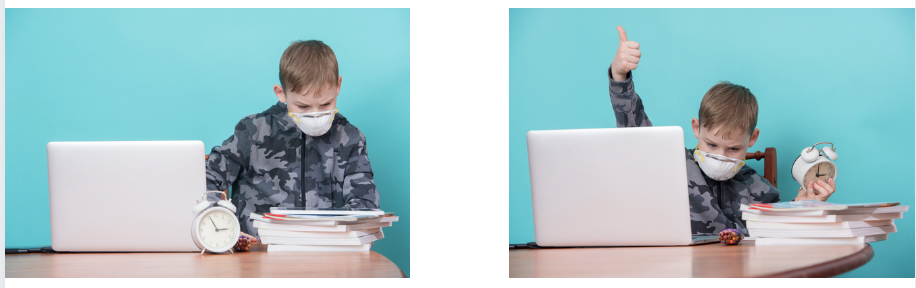 Two pictures of the same school aged boy participating in virtual schooling while wearing a mask