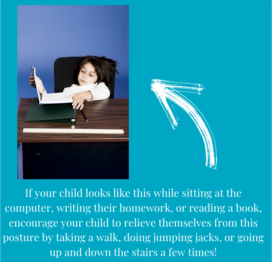 """""""If your child is slouching while sitting at the computer, writing their homework, or reading a book, encourage your child to relieve themselves from this posture by taking a walk, doing jumping jacks, or going up and down the stairs a few times!"""
