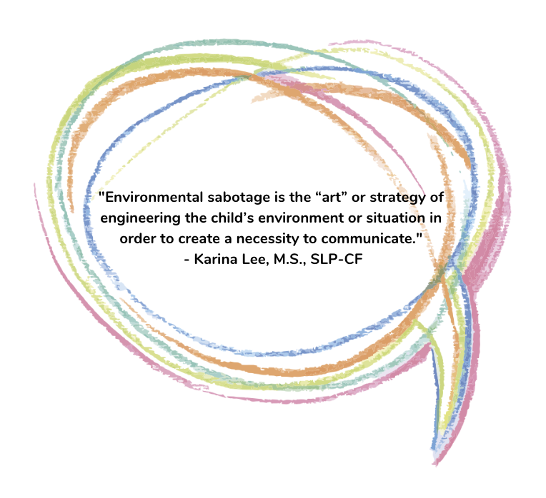 """Graphic with quote """"Environmental sabotage is the """"art"""" or strategy of engineering the child's environment or situation in order to create a necessity to communicate."""""""