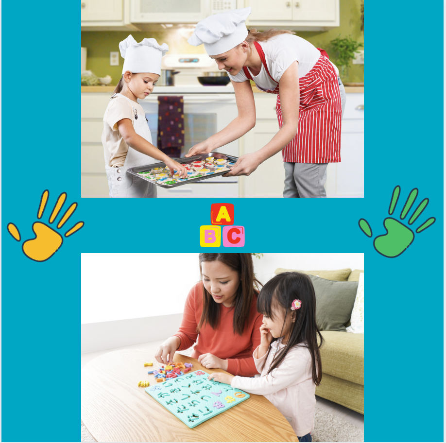 two images of parent playing pretend play with child.