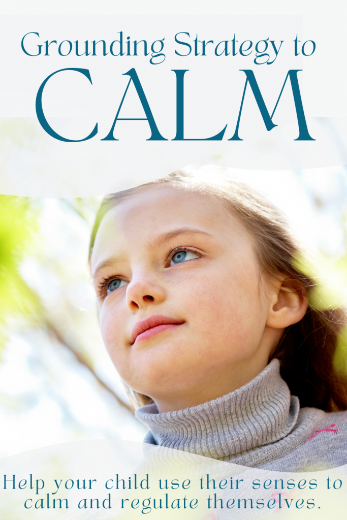 """Graphic of child, text """"grounding strategy to calm"""""""